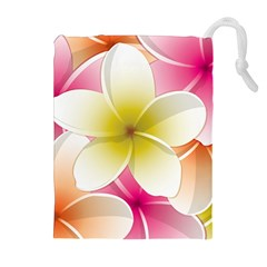 Frangipani Flower Floral White Pink Yellow Drawstring Pouches (Extra Large)
