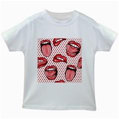 Lipstick Lip Red Polka Dot Circle Kids White T-Shirts