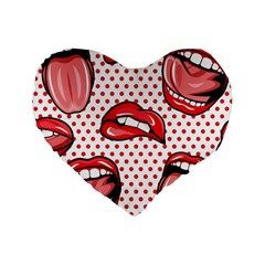 Lipstick Lip Red Polka Dot Circle Standard 16  Premium Heart Shape Cushions