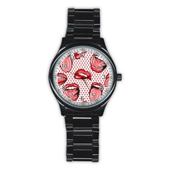 Lipstick Lip Red Polka Dot Circle Stainless Steel Round Watch