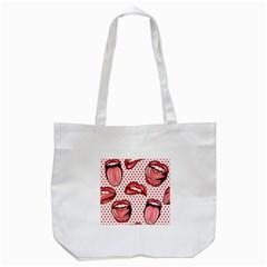 Lipstick Lip Red Polka Dot Circle Tote Bag (White)