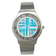 Lines Blue Stripes Stainless Steel Watch