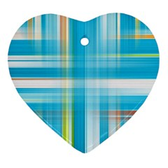 Lines Blue Stripes Heart Ornament (Two Sides)