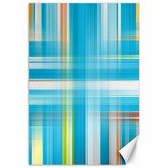Lines Blue Stripes Canvas 12  x 18