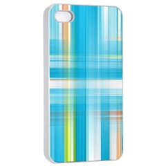 Lines Blue Stripes Apple iPhone 4/4s Seamless Case (White)