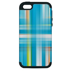 Lines Blue Stripes Apple iPhone 5 Hardshell Case (PC+Silicone)