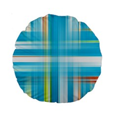 Lines Blue Stripes Standard 15  Premium Round Cushions