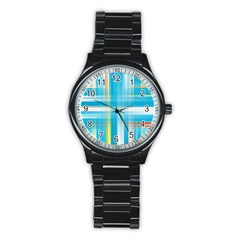Lines Blue Stripes Stainless Steel Round Watch