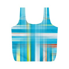 Lines Blue Stripes Full Print Recycle Bags (m)