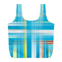 Lines Blue Stripes Full Print Recycle Bags (L)