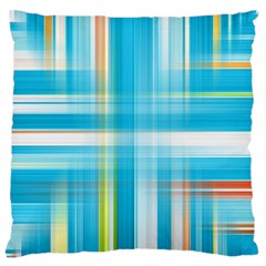 Lines Blue Stripes Large Flano Cushion Case (One Side)
