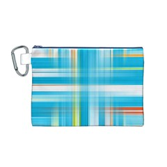 Lines Blue Stripes Canvas Cosmetic Bag (M)