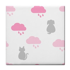 Raining Cats Dogs White Pink Cloud Rain Tile Coasters