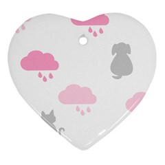Raining Cats Dogs White Pink Cloud Rain Ornament (Heart)