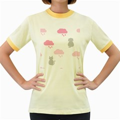 Raining Cats Dogs White Pink Cloud Rain Women s Fitted Ringer T-Shirts