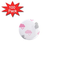 Raining Cats Dogs White Pink Cloud Rain 1  Mini Magnets (100 Pack)