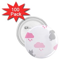 Raining Cats Dogs White Pink Cloud Rain 1.75  Buttons (100 pack)