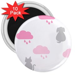 Raining Cats Dogs White Pink Cloud Rain 3  Magnets (10 pack)
