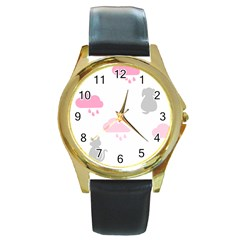 Raining Cats Dogs White Pink Cloud Rain Round Gold Metal Watch