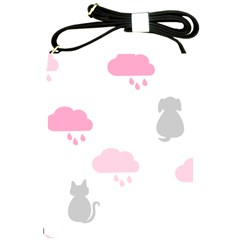 Raining Cats Dogs White Pink Cloud Rain Shoulder Sling Bags