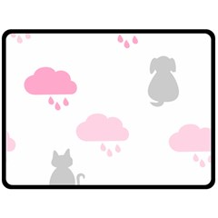 Raining Cats Dogs White Pink Cloud Rain Fleece Blanket (Large)