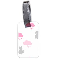 Raining Cats Dogs White Pink Cloud Rain Luggage Tags (two Sides)