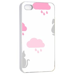 Raining Cats Dogs White Pink Cloud Rain Apple iPhone 4/4s Seamless Case (White)