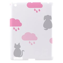 Raining Cats Dogs White Pink Cloud Rain Apple iPad 3/4 Hardshell Case (Compatible with Smart Cover)