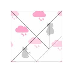 Raining Cats Dogs White Pink Cloud Rain Acrylic Tangram Puzzle (4  x 4 )