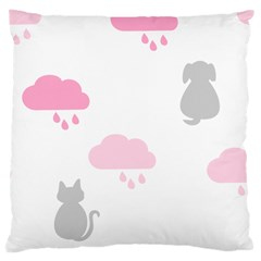 Raining Cats Dogs White Pink Cloud Rain Large Cushion Case (One Side)
