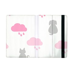 Raining Cats Dogs White Pink Cloud Rain Apple iPad Mini Flip Case