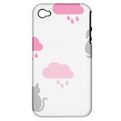 Raining Cats Dogs White Pink Cloud Rain Apple iPhone 4/4S Hardshell Case (PC+Silicone)