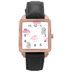 Raining Cats Dogs White Pink Cloud Rain Rose Gold Leather Watch