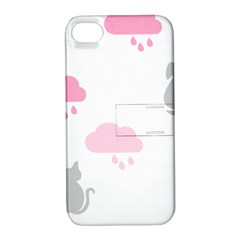 Raining Cats Dogs White Pink Cloud Rain Apple iPhone 4/4S Hardshell Case with Stand