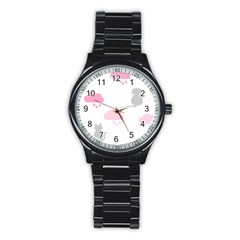 Raining Cats Dogs White Pink Cloud Rain Stainless Steel Round Watch