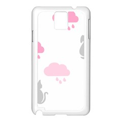 Raining Cats Dogs White Pink Cloud Rain Samsung Galaxy Note 3 N9005 Case (White)