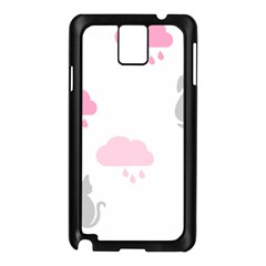 Raining Cats Dogs White Pink Cloud Rain Samsung Galaxy Note 3 N9005 Case (Black)
