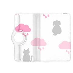 Raining Cats Dogs White Pink Cloud Rain Kindle Fire HDX 8.9  Flip 360 Case