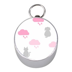 Raining Cats Dogs White Pink Cloud Rain Mini Silver Compasses