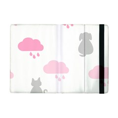 Raining Cats Dogs White Pink Cloud Rain iPad Mini 2 Flip Cases