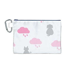 Raining Cats Dogs White Pink Cloud Rain Canvas Cosmetic Bag (M)