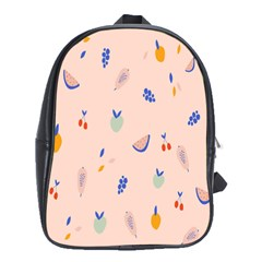 Papaya Apple Cherry Wine Fruit Pink Purple School Bags (XL)