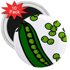 Peas Green Peanute Circle 3  Magnets (10 pack)