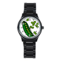 Peas Green Peanute Circle Stainless Steel Round Watch