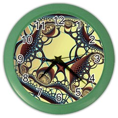 Labels Net Circle Brown Color Wall Clocks