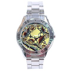 Labels Net Circle Brown Stainless Steel Analogue Watch