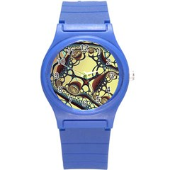 Labels Net Circle Brown Round Plastic Sport Watch (S)