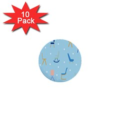 Seat Blue Polka Dot 1  Mini Buttons (10 pack)