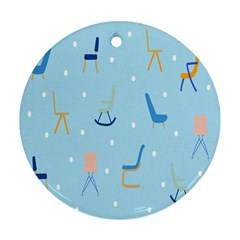 Seat Blue Polka Dot Round Ornament (Two Sides)