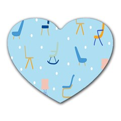 Seat Blue Polka Dot Heart Mousepads